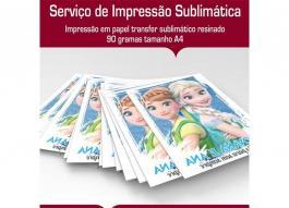 Impressão em papel Sublimático Folha A4 PAPEL A4 4x0 tinta sublimática